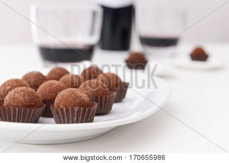 Delicious chocolate truffles closeup