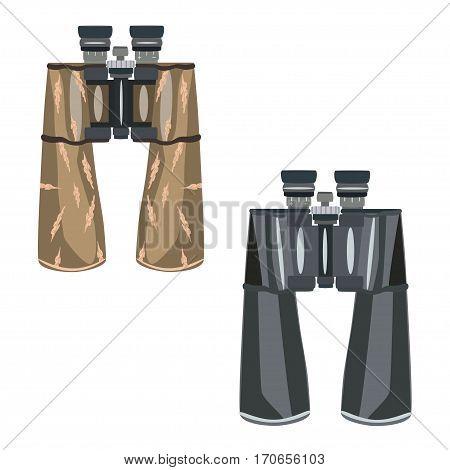 Vector binoculars isolated on white background. Flat style design illustration.