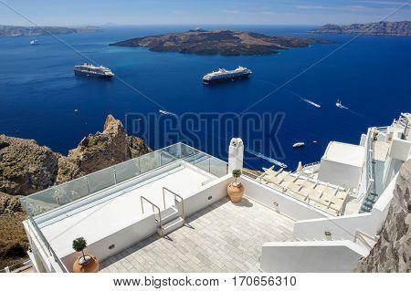 Luxury decks and patios of Fira before the high season, Santorini, Greece