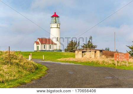 Cape Blanco Lighthouse at Pacific coast, built in 1870, Oregon, USA