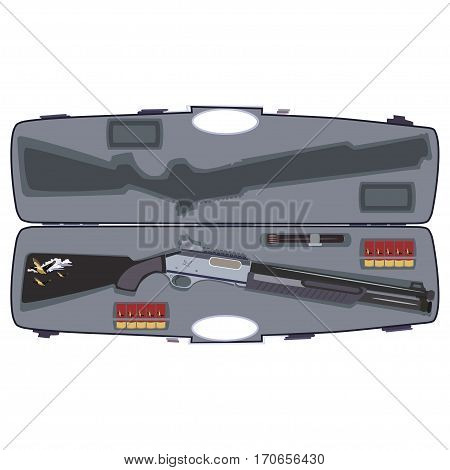 Vector illustration of hunting rifle in case isolated on white background flat style design