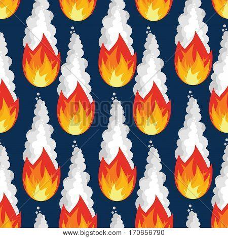 Meteor Rain Seamless Pattern. Fire Asteroid Texture. Fiery Sky