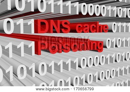 dns cache poisoning in the form of binary code, 3D illustration