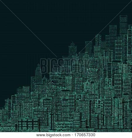 City Landmark Background At Night. Hand Drawn Illustration