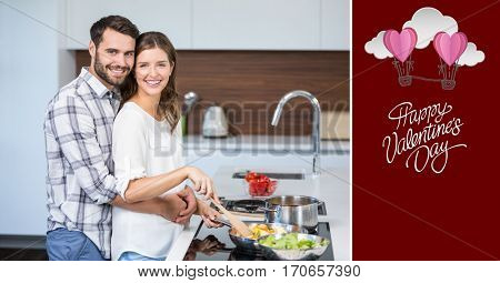 Composite image of smiling couple embracing while cooking food
