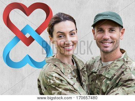 Portrait of couple in soldier uniform embracing each other with digitally generated heart