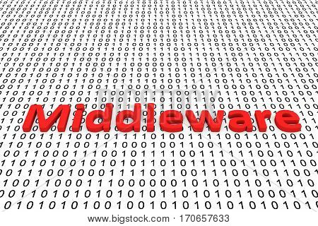 middleware in the form of binary code, 3D illustration
