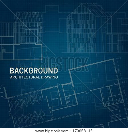 Architectural background. Vector engineering drawings on blue background.