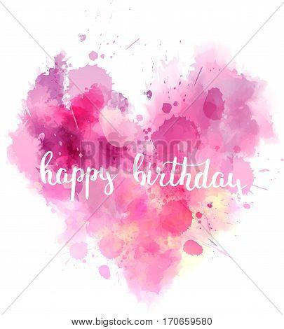 Happy Birthday Watercolored Heart