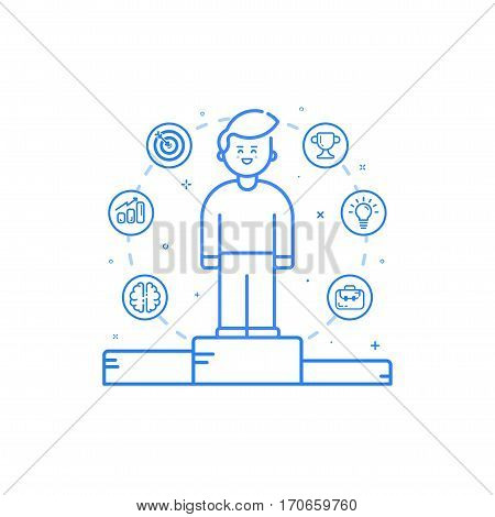 Vector illustration in flat bold linear style with boy and blue icons. Concept of business competition winner - man standing on the podium on the first place - career achievement. Outline stock object