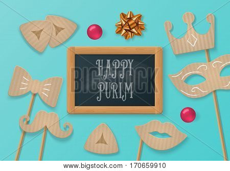 Purim holiday concept with cardboard carnival mask mustache and chalkboard. Realistic vector illustration