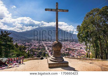 Panoramic view from Cerro de la Cruz  with Volcano De Agua in the background in Antigua, Guatemala.