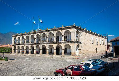 Palace of Ayuntamento at Antigua on Guatemala. Central America.