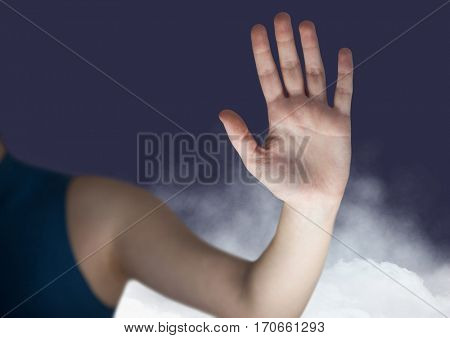 Mid section of woman gesturing against digitally generated background