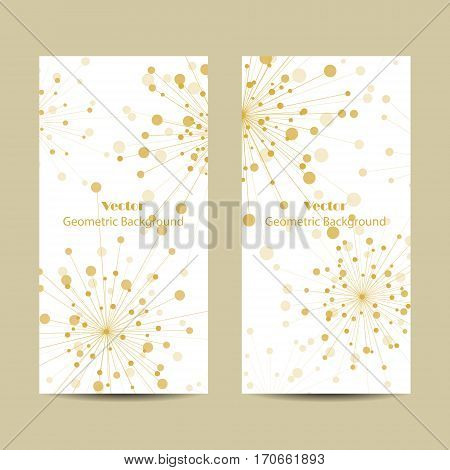 Set of vertical banners. Abstract geometric background with connected lines and dots in a shape of fireworks. Vector illustration.