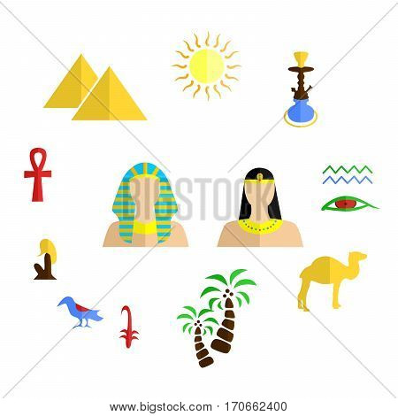 set of icons in the style of a flat design on the theme of egypt.