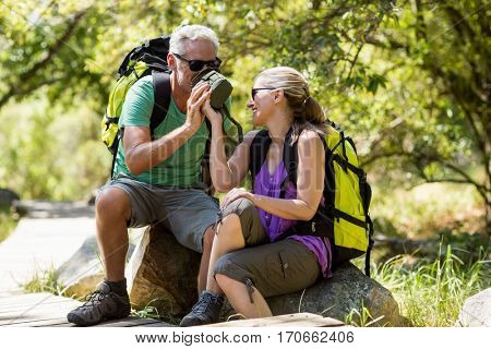 Couple taking a break during a hike