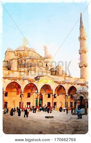 Digital watercolour of Sultan Ahmed Mosque or Blue Mosque in Istanbul