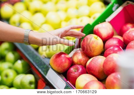 Close up view of fruits shelf in supermarket