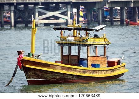Generic Small Wooden Fishing Ship of Thailand