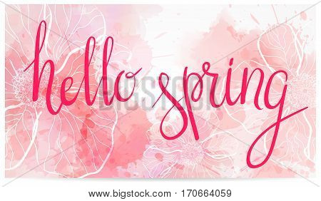 Watercolor Imitation Spring Banner