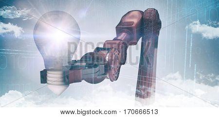 Composite image of robotic arm holding light bulb against purple vignette 3d