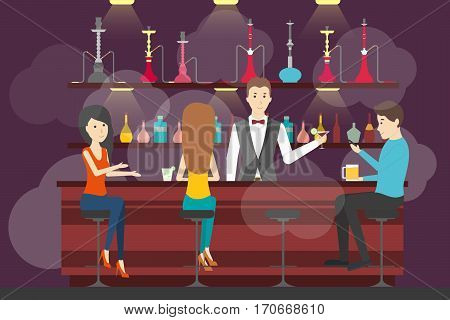 Hookah bar interior. Bar and with food and hookah service. Interior in smoke. Bar counter