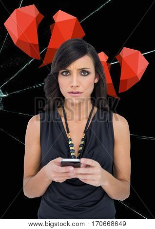Digital composite of upset woman texting against broken hearts and cracked hearts