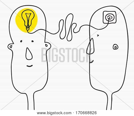 creation ideas concept.collectivity and brainstorming.primitive infantile cartoon style.Vector illustration isolated on white background,
