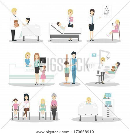 Children in hospital set. Pediatrician, reception, waiting room and ward. Kids with illness. Isolated icons on white background.