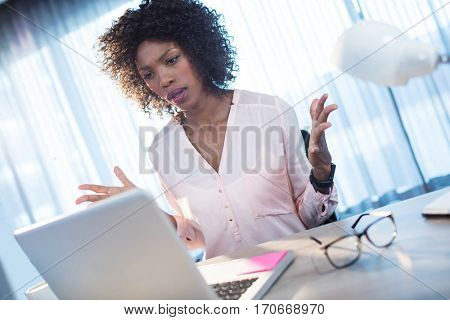 Businesswoman who gets angry on the computer at office