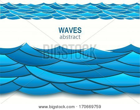 Sea seamless pattern with paper blue waves. 3d vector. Pasteboard art style.