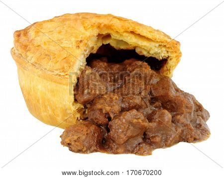 Chunky steak and ale meat filled pie isolated on a white background