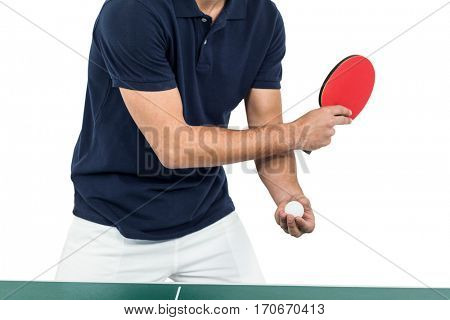Mid section of athlete man playing table tennis on white background