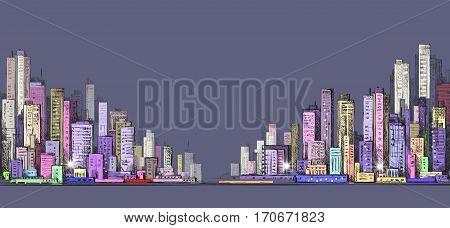 Cityscape Night Background. Hand Drawn Vector Illustration
