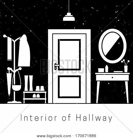 Hallway interior with white silhouette of furniture.