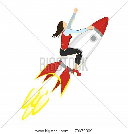 Businesswoman on rocket. Isolated charachter with red and white jet rocket. Successful development of business.