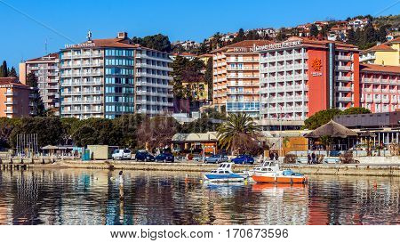 PORTOROZ, SLOVENIA - JANUARY 21, 2017: Scenes from Portoroz (literally