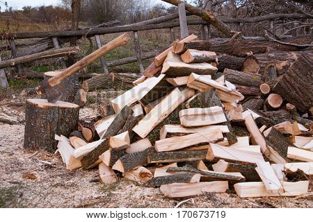 Pile of firewood with ax. Preparation of wood for the winter in the village