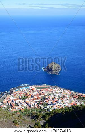 Garachico town on the coast of Tenerife island, Canary Islands. Copyspace composition