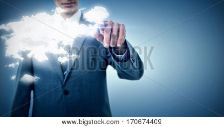 Midsection of businessman pointing against purple vignette