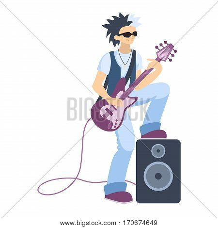 Isolated guitar player on white background. Cool singer and musician. Bass guitar.