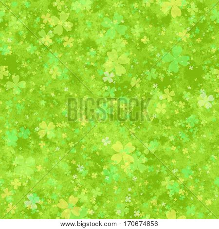 Abstract green cloverleaf pattern Spring leafy texture background Seamless illustration