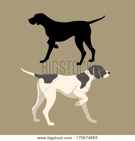 pointer dog vector illustration style Flat set silhouette
