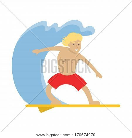 Isolted surfing smiling handsome boy with surfboard in red shorts.