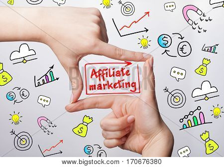 Technology, Internet, Business And Marketing. Young Business Woman Writing Word:affiliate Marketing