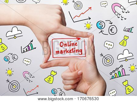 Technology, Internet, Business And Marketing. Young Business Woman Writing Word: Online Marketing