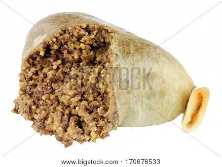 Traditional Scottish haggis isolated on a white background