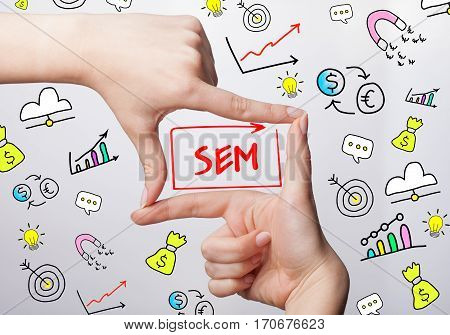 Technology, Internet, Business And Marketing. Young Business Woman Writing Word: Sem