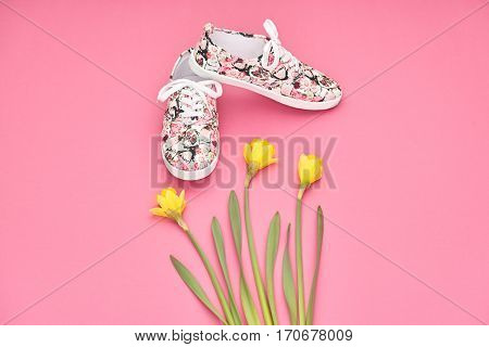 Summer Fashion Hipster style. Design Spring girl clothes set, Accessories. Trendy floral gumshoes.Summer hipster shoes, spring yellow flowers. Summer Urban woman Minimal look. Perspective view